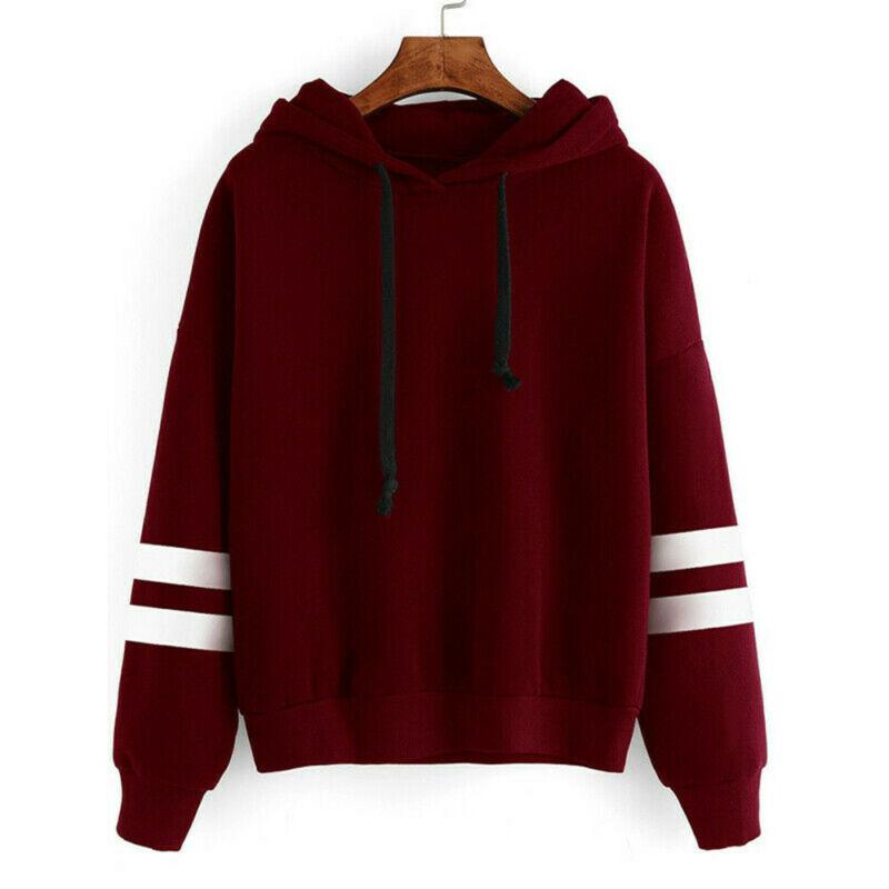 Autumn Striped Hooded Women's Sweatshirt Long Sleeve Hoodies Plus Size Womens Casual Hooded Pullover Loose Sweatshirts