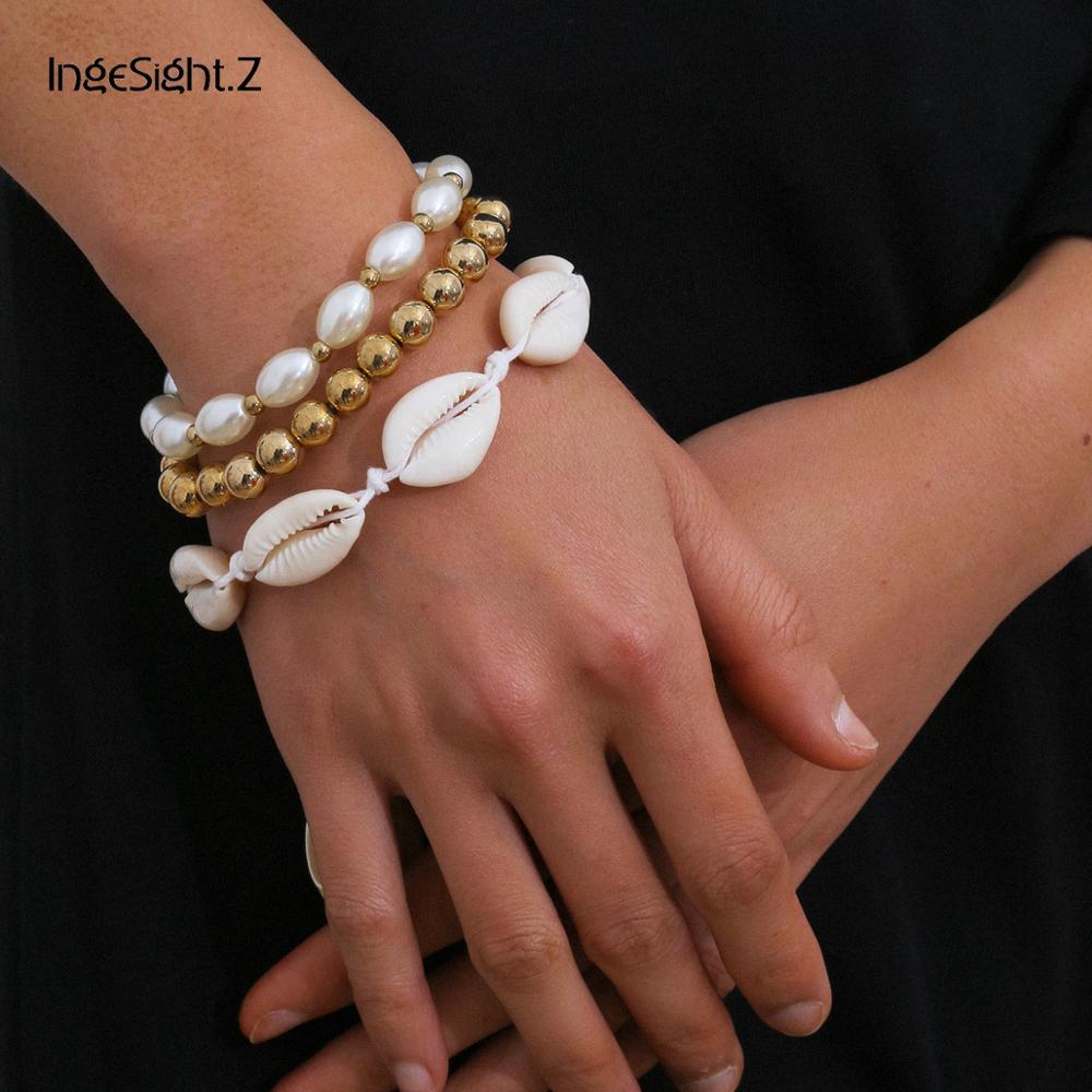 Ingesight. z 3 pçs/set punk imitação pérola redonda bola pulseiras pulseiras boêmio natural concha pulseira corrente de pulso jóias
