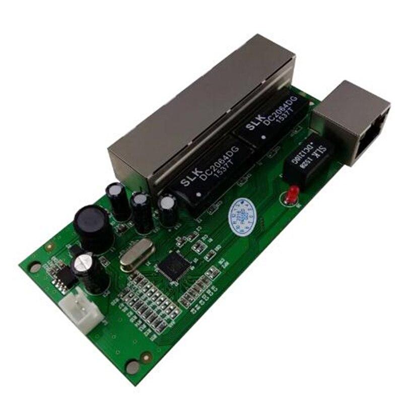 Mini interruptor mini 5 puertos 10/100mbps interruptor de red 5-12v Gran voltaje inteligente ethernet pcb módulo rj45 con led integrado-inswitc