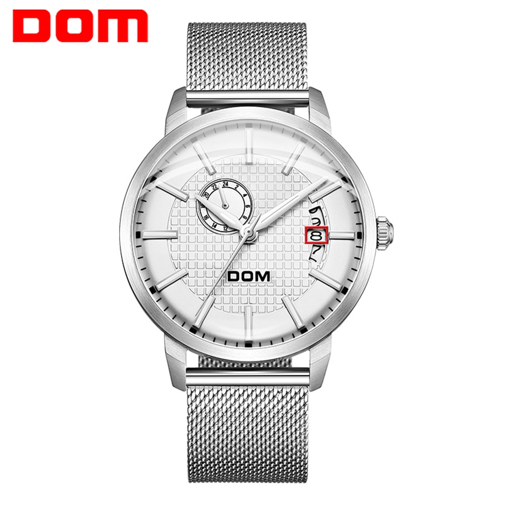 DOM Watch Men Classic Fashion Elegant Chronograph Watch Casual Sport Leather Band Mens Watches Automatic Clock For Male