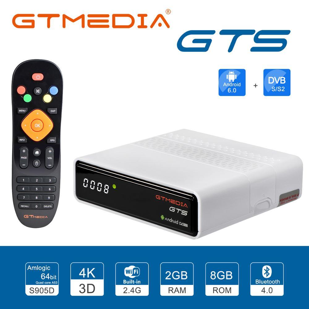 GTMEDIA 4K TV caja GTS Android 6,0 DVB-S2 satélite ReceiverCombo 2GB de RAM 8GB ROM Amlogic S905D BT4.0 receptor inteligente decodificador