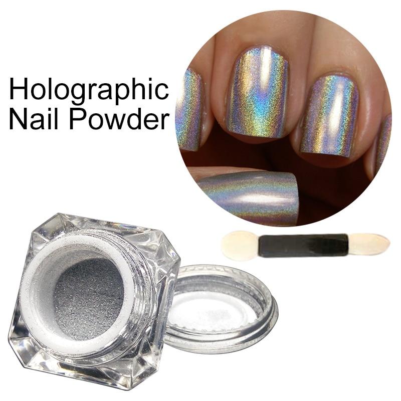 Polvo holográfico para esmalte de Gel 1g Holo Unicorn pigmento brillante de arco iris polvo de plata cromada purpurina arcoíris neón