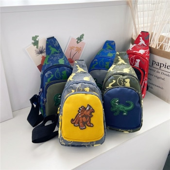 Sac de poitrine pour enfants, sac banane mignon pour filles et garçons, sac de poitrine imprimé de dinosaure de dessin animé, sac de ceinture pour enfants, pochette d'argent, sac de ceinture à fermeture éclair pour bébé