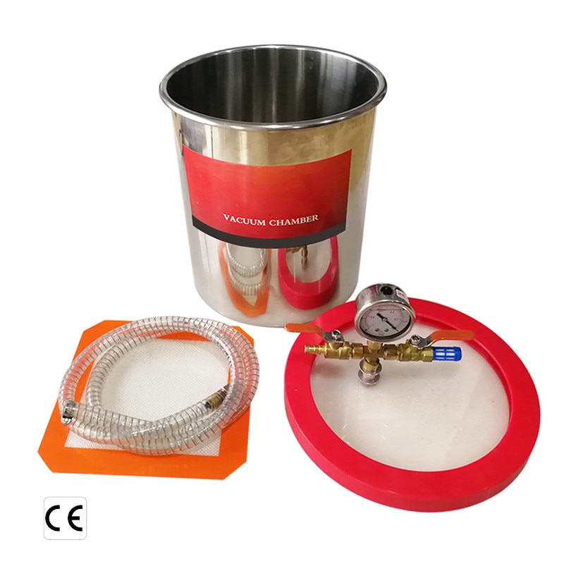 Stainless steel 3/5/6 gallon Vacuum Chamber with 5cfm Vacuum Pump RS-2 Defoaming barrel for epoxy resin AB glue 12L/20L/24L