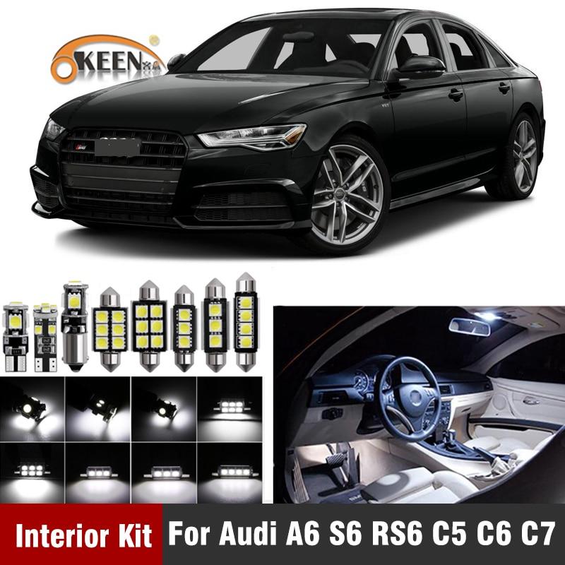 Canbus blanco sin Error bombilla LED Kit de luz Interior para Audi A6 S6 RS6 C5 C6 C7 (1994-2016) luz de matrícula Dome Map
