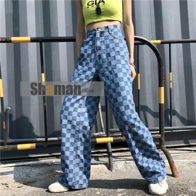 Luxury Designer Harajuku boyfriend blue jeans for women clothing Vintage Plaid Straight Loose blue Denim jeans woman high waist
