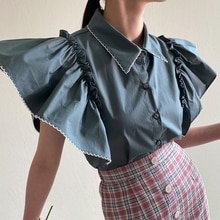 2021 Summer New Japanese Style Korean Fashion Single-breasted Solid Color Blouse Flying Sleeves Simp