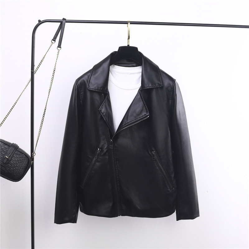 2019 new Women Leather OL soft leather touch Motorcycle Jacket PU leather suit version loose split Leather Jacket Black Coat enlarge