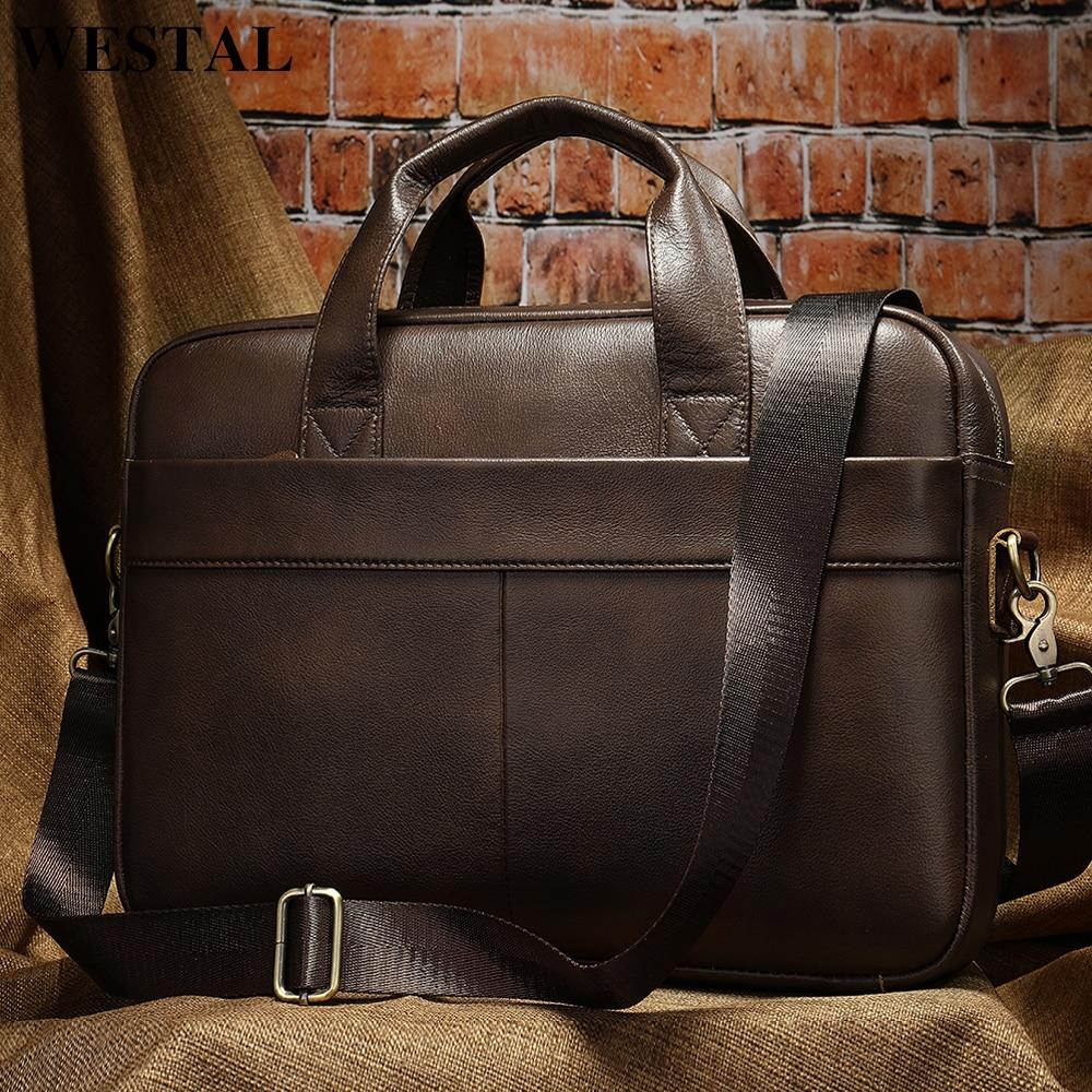 WESTAL Men's Bag Genuine Leather Men Briefcase for Laptop 14 Messenger Men's Leather Bag Business Portfolio for Document A4 7022