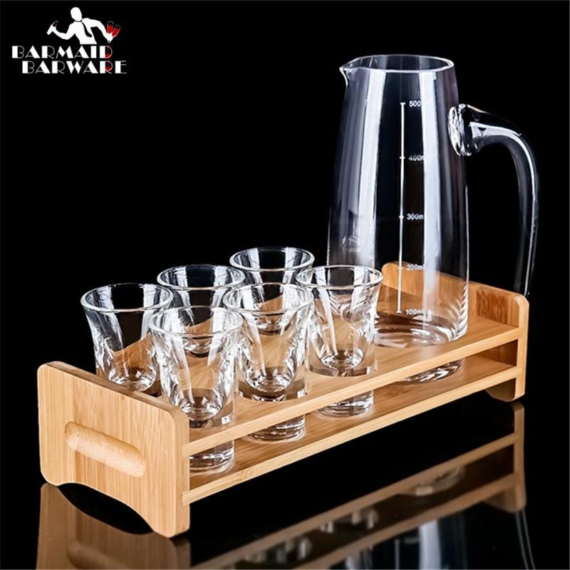 Cocktail Shaker Bar Set Crystal Glass Bullet Cup Liquor Cup Liquor Cup Dispenser Set With The Wine Holder  Bar Set  300ml/500ml