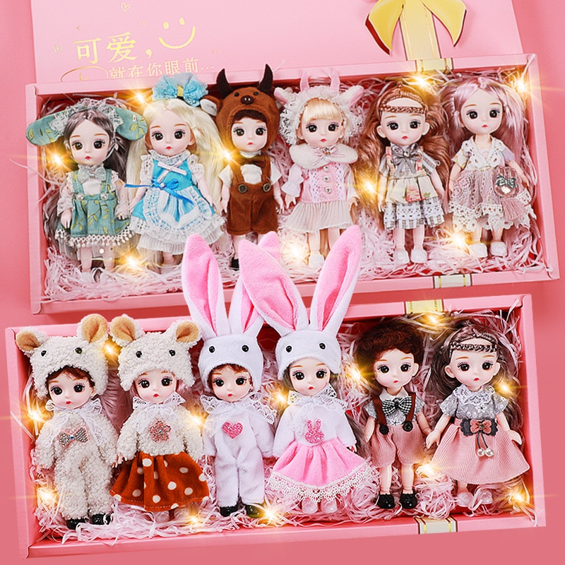 New 6pcs BJD Dolls 16cm Doll with 13 Movable Joints Fashion Dress Girl Princess Dress Up Big Gift Box Play House Toy Set Gift