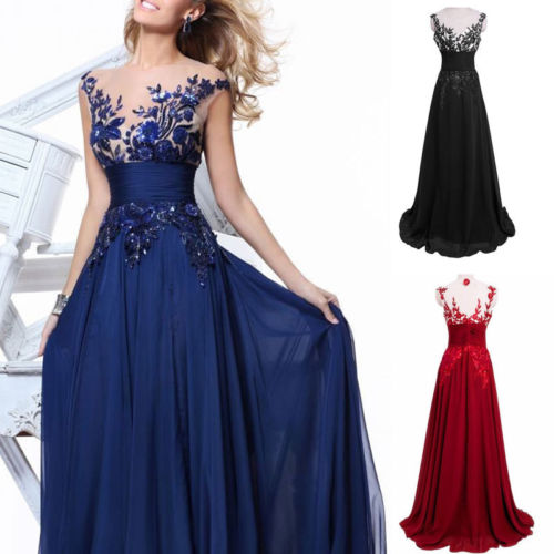 arrival Women Lace Chiffon Bridesmaid Formal Ball Gown Party  Dresses Sexy V-Neck High Waist Long Ma