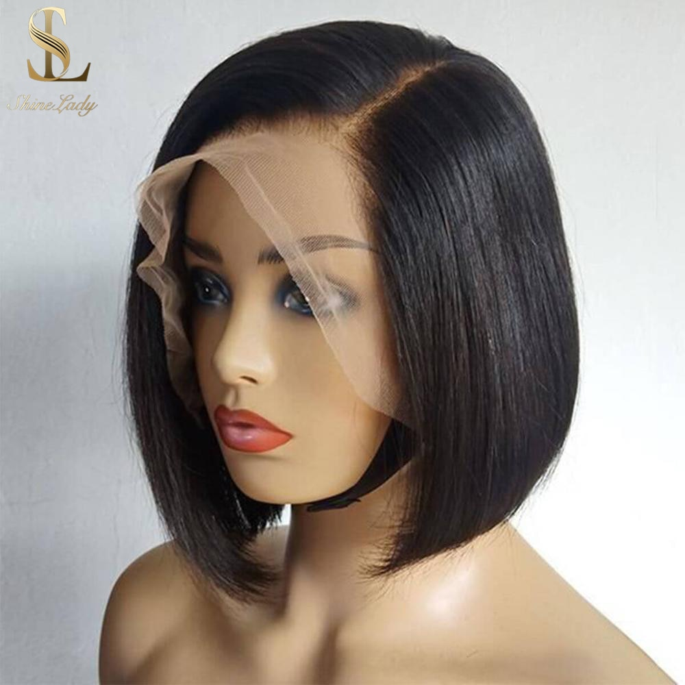 Shinelady Bob Wig Peruvian Human Hair Straight T Part Lace Wigs 10 Inch Short Wigs 1b# Color Remy Human Hair Wig for Black Women