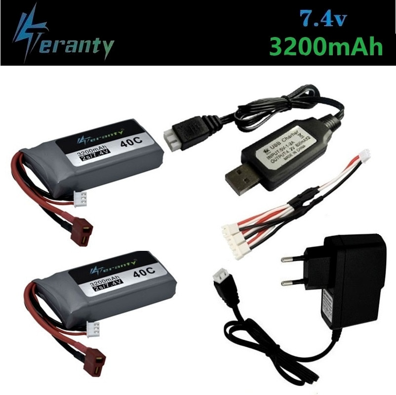 Upgrade 3200mah 7.4v Lipo battery Charger set For Wltoys 12428 12423 RC Four-wheel RC Vehicle Car For Feiyue 03 Q39 RC Parts enlarge