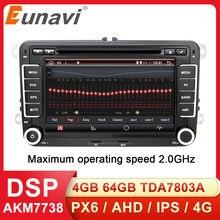 Eunavi 2 Din Android 10 Car Audio Lettore DVD Radio Per VW GOLF 6 Polo Bora JETTA B6 PASSAT Tiguan SKODA OCTAVIA Navigazione GPS
