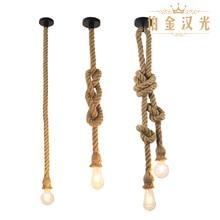Corde de chanvre pendentif lumières vintage rétro personnalité industrielle suspension lampe pour loft salon restaurant Edison lampe à main