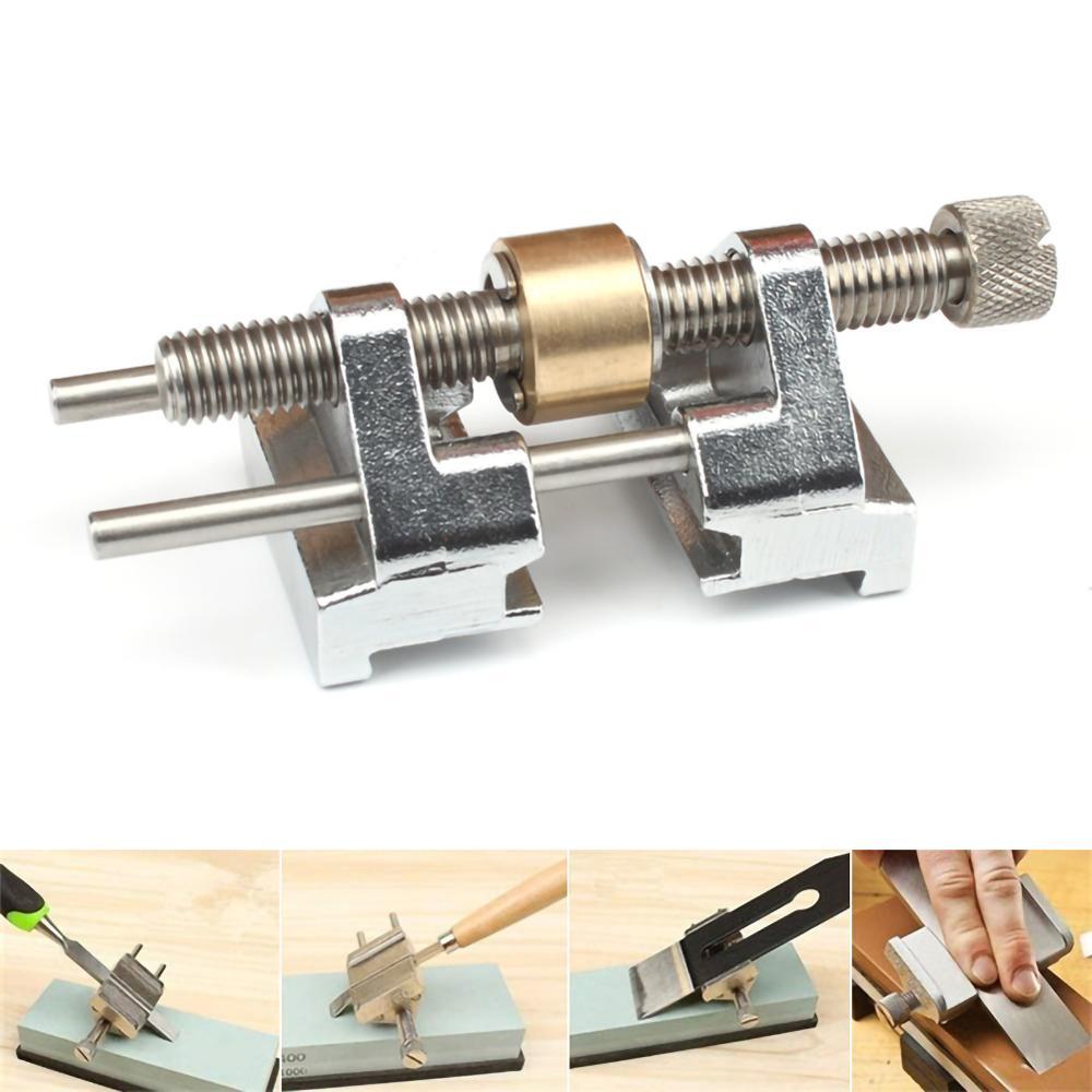 1 abrazadera lateral, guía de rectificado de ángulo fijo para el tablón de madera, cuchilla plana para el borde del cincel, herramienta de cocina de acero inoxidable para afilar