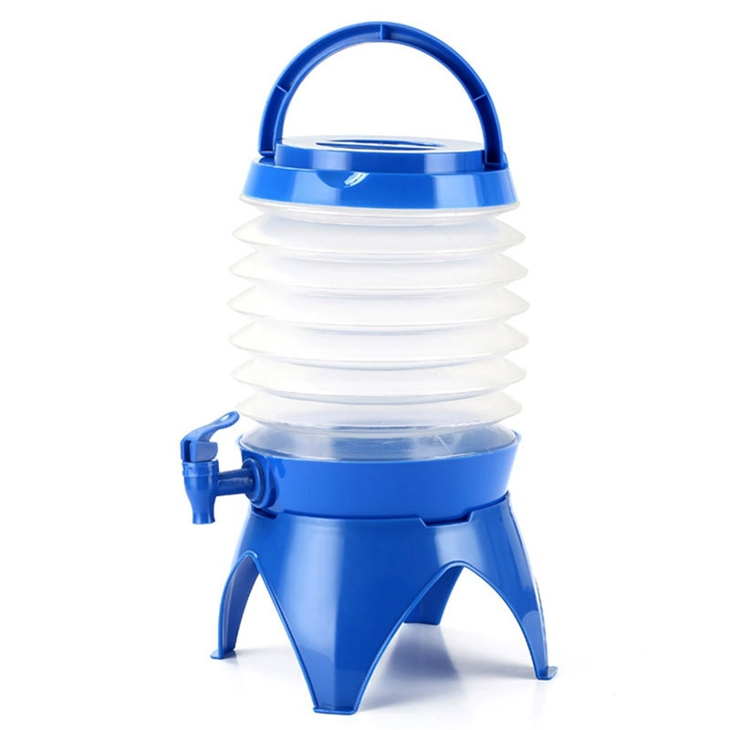Camping al aire libre bolsa de agua portátil cubo de agua contenedor de cerveza azul senderismo ciclismo bicicleta bolsa de agua 5L accesorio plegable
