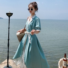 New Spot Featured Products Contrast Colors False-Two-Piece Dress Stitching Floral