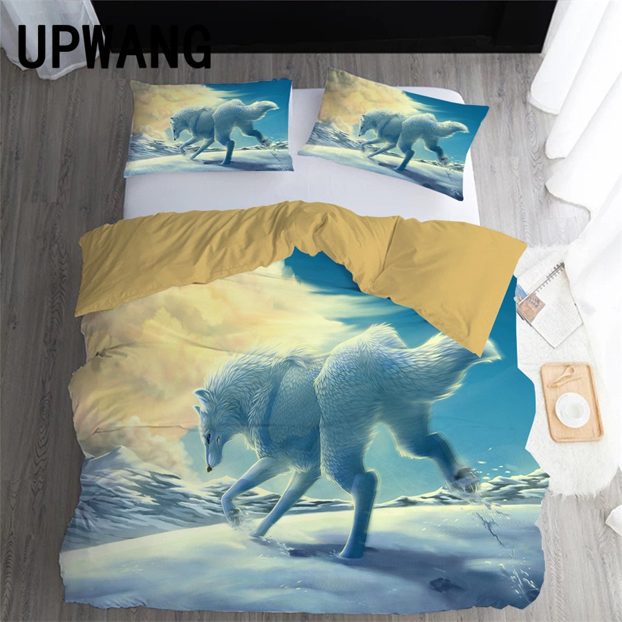 UPWANG 3D Bedding Set Wolf Animal Printed Duvet/Quilt Cover Set Bedcloth with Pillowcase Bed Set Home Textiles #L16