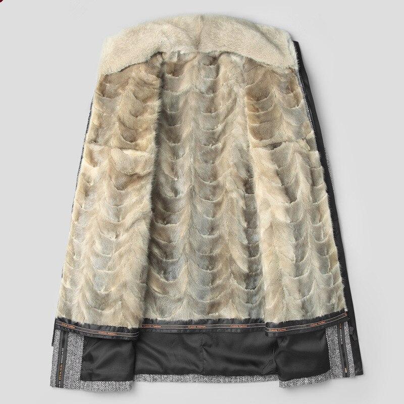 معطف حقيقي فرو منك سترة الرجال في فصل الشتاء سترة الرجال معطف صوف طبيعي فاخر دافئ جاكيتات حجم كبير Veste Homme MY1226