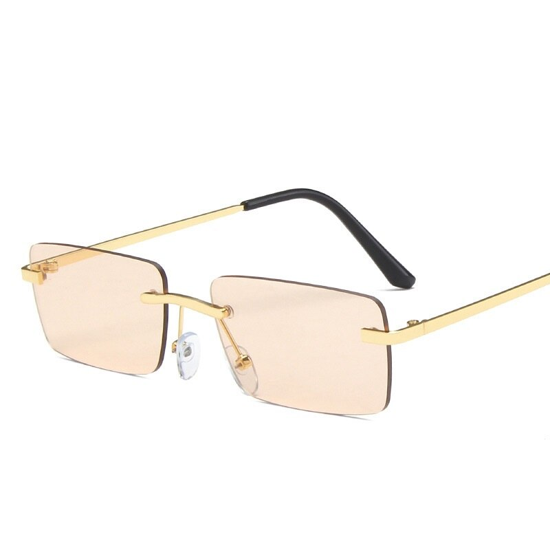 Rimless Rectangle Sunglasses Women Shades For Men Vintage Retro Sun Glasses Goggle 2021 Fashion Meta