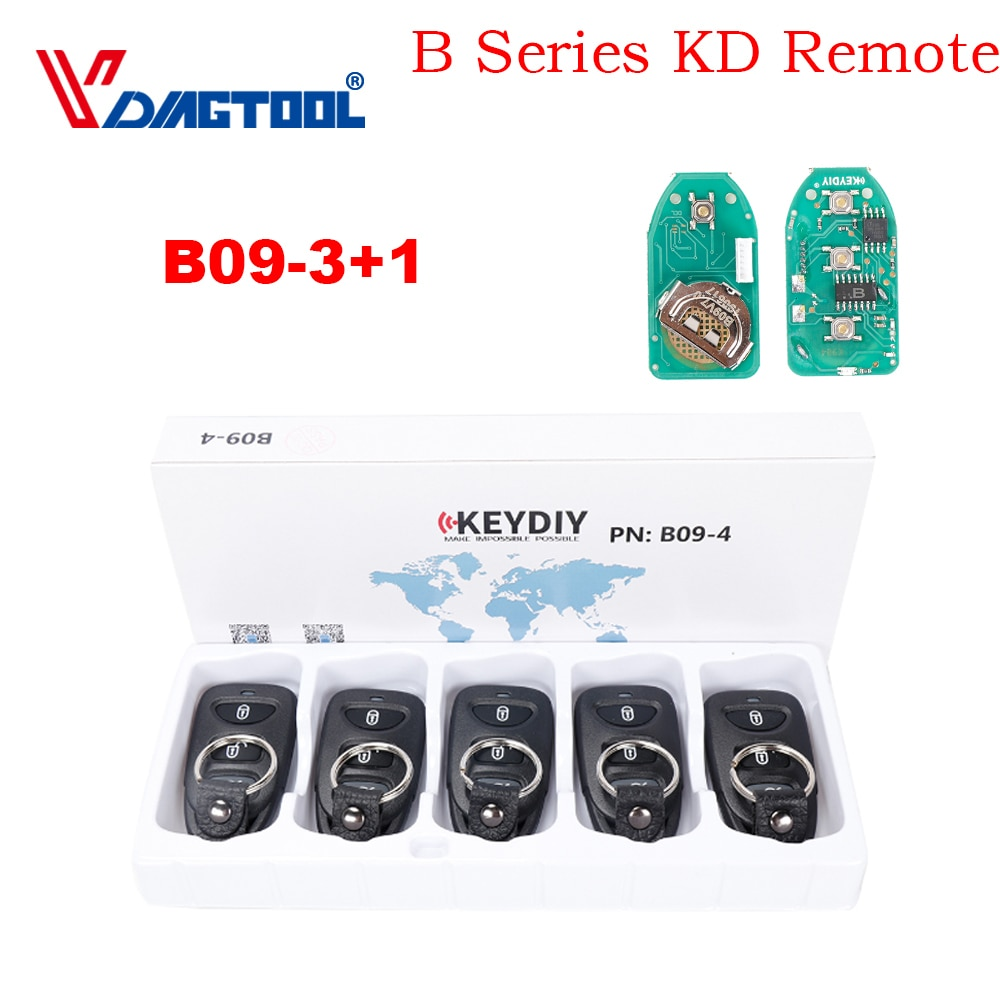VDIAGTOOL 5 unids/lote B09 B09-3 + 1 B09-4 Universal serie B KD remoto para KD-X2 KD900 Mini KD llave de coche control remoto generador