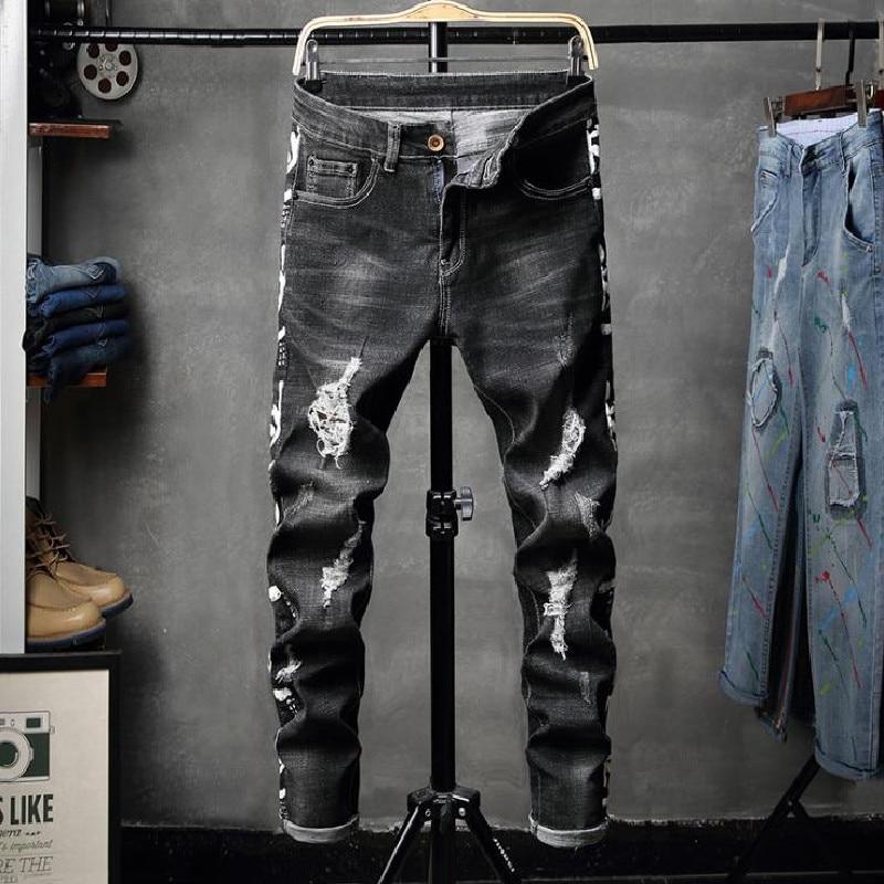 Мужские джинсы, новинка, черные эластичные узкие джинсы с дырками, модные штаны с принтом, Простые индивидуальные Изношенные мужские брюки ...
