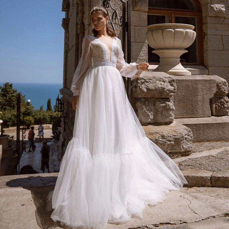 2021 a-line فستان زفاف الشاطئ كم طويل تول فستان الزفاف مخصص الأميرة فساتين الزفاف بوهو حجم كبير