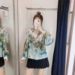 Feminino casual floral impressão cetim blusa casual solto topos senhoras turn down collar lanterna manga longa camisa vintage blusas