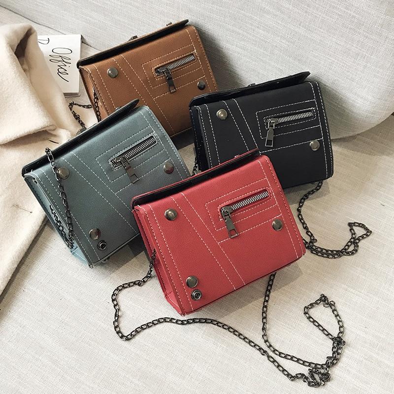Japanese Style Square Bag New Frosted Lock Women Shoulder Bag Metal Chain Zipper Rivets Messenger Bag Simple Female Handbag