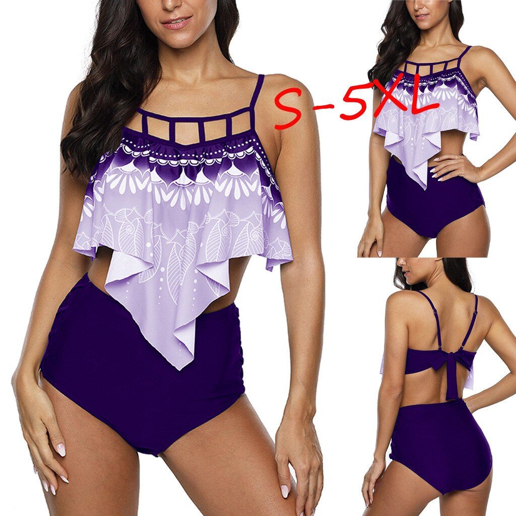 Bikinis 2020 mujer Swimwear Women Plus Size Takini High Waist Ruffle Swimsuit Female Retro Bikini Set Biquini купальник New