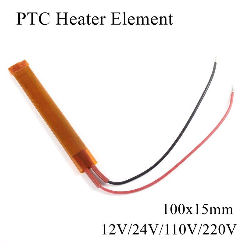 Elemento Calentador PTC de 100x15mm, 12V, 24V, 110V, 220V, elemento de calentamiento constante, termistor aislado de cerámica, película de tubo de calefacción de aire de 100x15mm