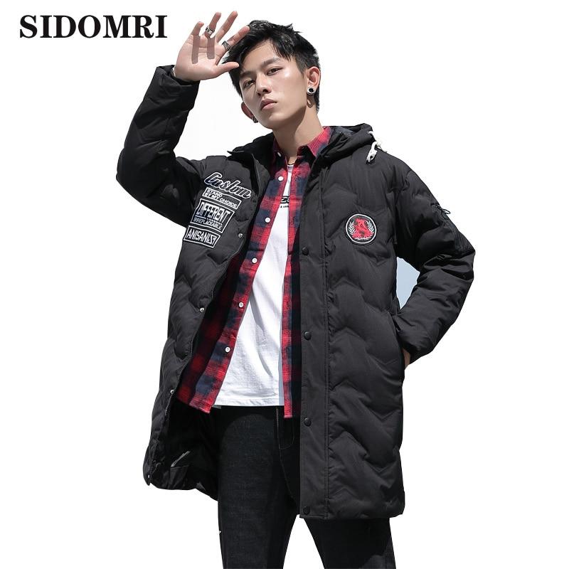 Men's cotton jacket winter medium-long cotton jacket fashionable men's hooded cotton-padded jacket Large size high quality