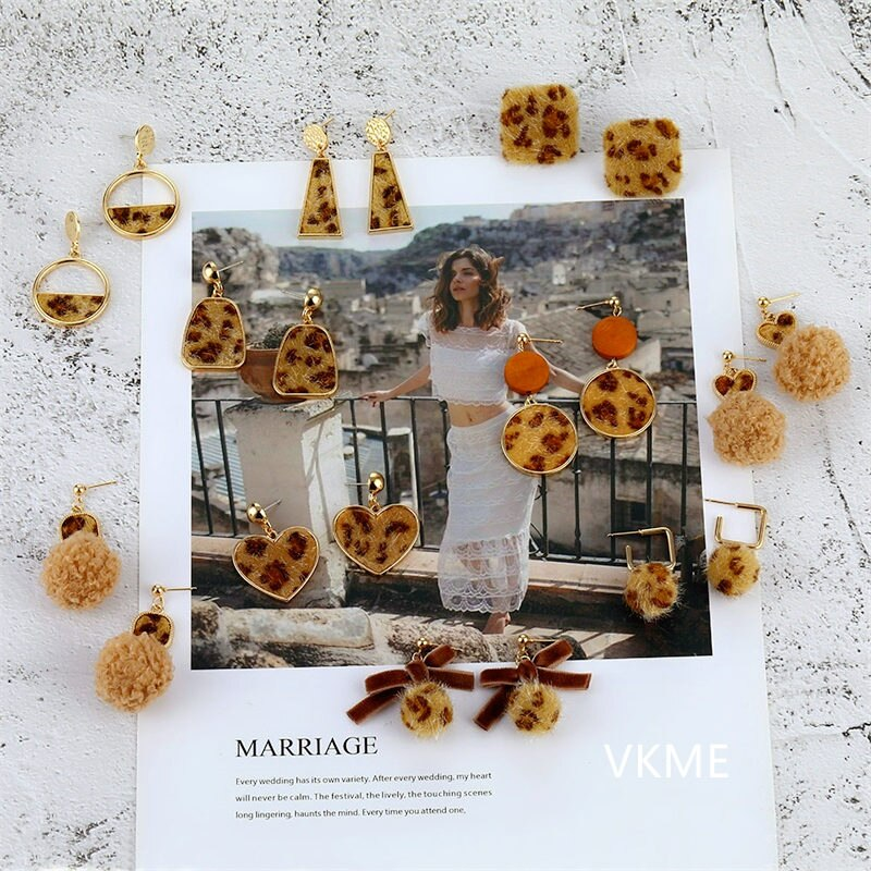 VKME charm Leopard print Plush Drop Earrings mujer pendientes lindo/romántico moda joyería accesorios para fiesta de cumpleaños