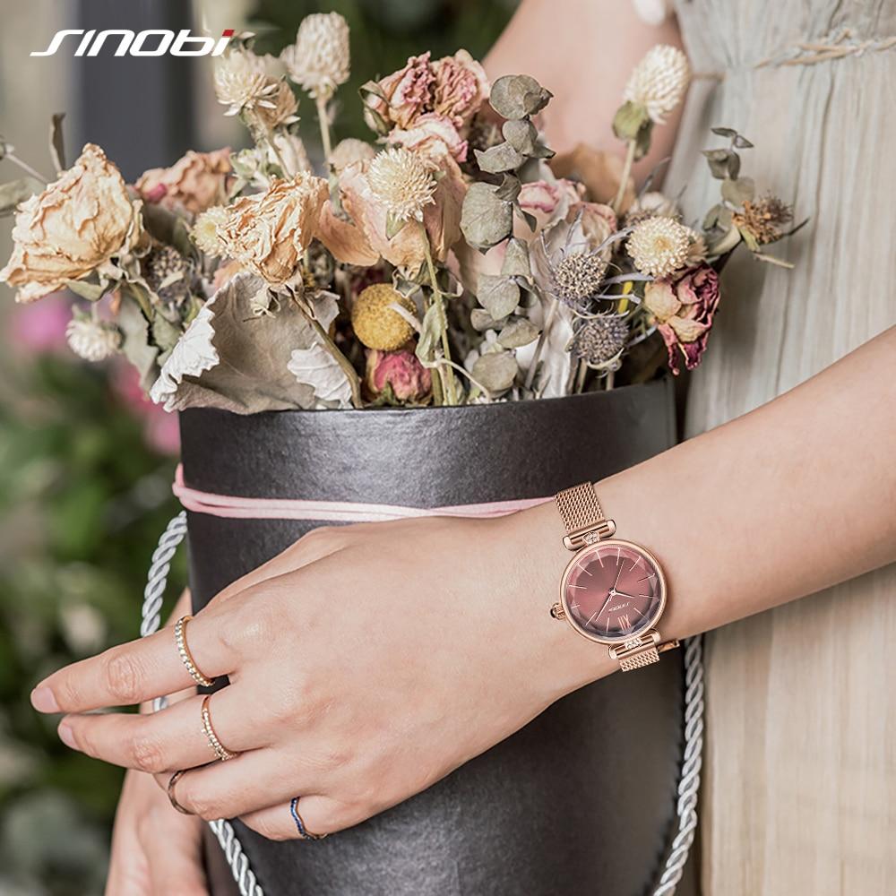 SINOBI Luxury Women Watches Golden Stainless Steel Ladies Wrist Waterproof Watch Women Elegant Diamond Watch Gift reloj mujer enlarge