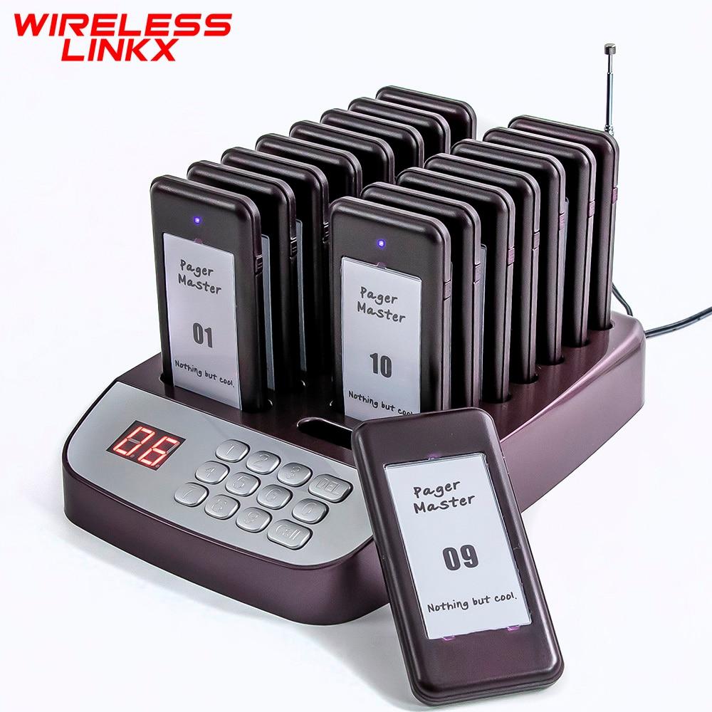 Wirelesslinkx Restaurant Buzzer Pager Wireless Paging Guest Calling System for Cafe Dessert Shop Church Food Truck / Court