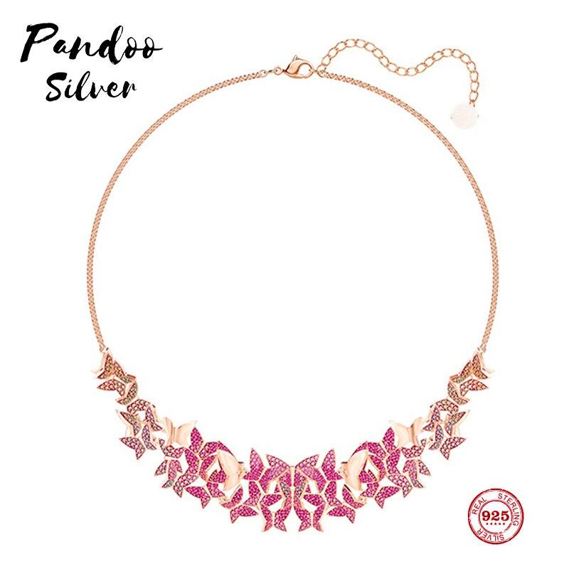 PANDOO del encanto de la moda de plata pura 925 Original 11 copia fantasía mariposa Rosa collar de moda mujer joyería de lujo regalos