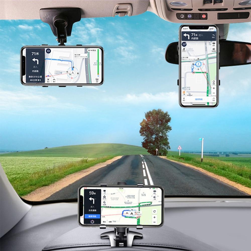 ANMONE Dashboard Car Phone Holder 360 Degree Mobile Phone Stands Rearview Mirror Sun Visor In Car GPS Navigation Bracket