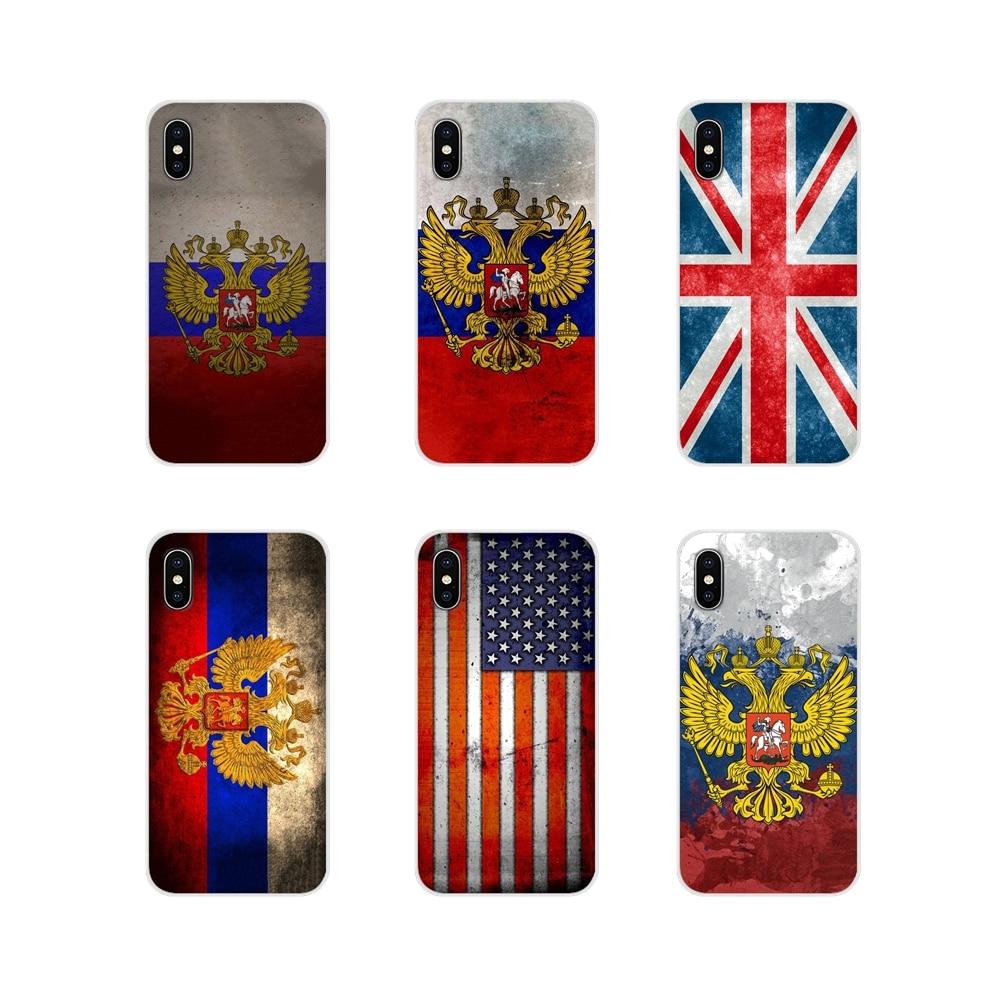 Bandera rusa americana británica para Xiaomi Redmi Note 3 4 5 6 7 8 Pro Mi Max Mix 2 3 2S pocofone F1 fundas blandas transparentes