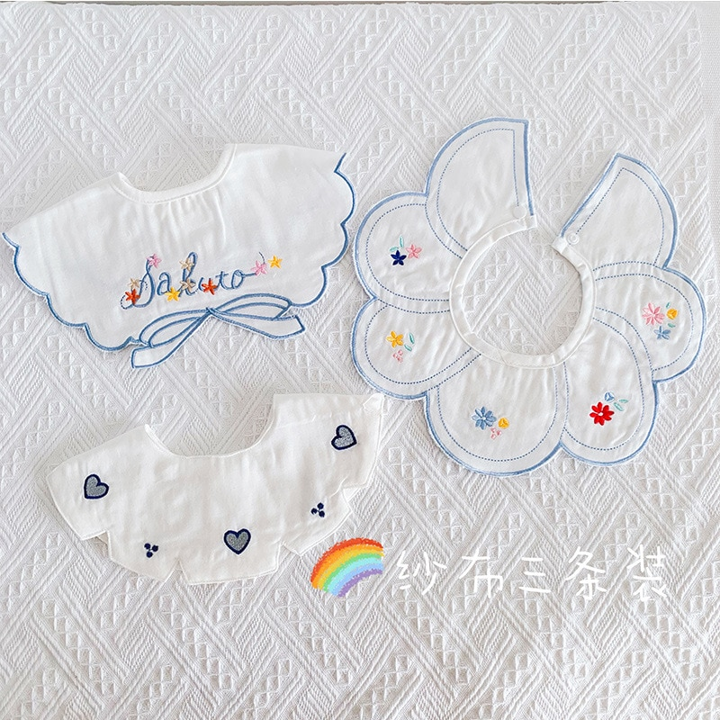 3Pcs Set Nordic INS Style Baby Bib Breathable Cotton Gauze Cute Fake Collar Embriodery Boys And Girls Accessories Kids Things