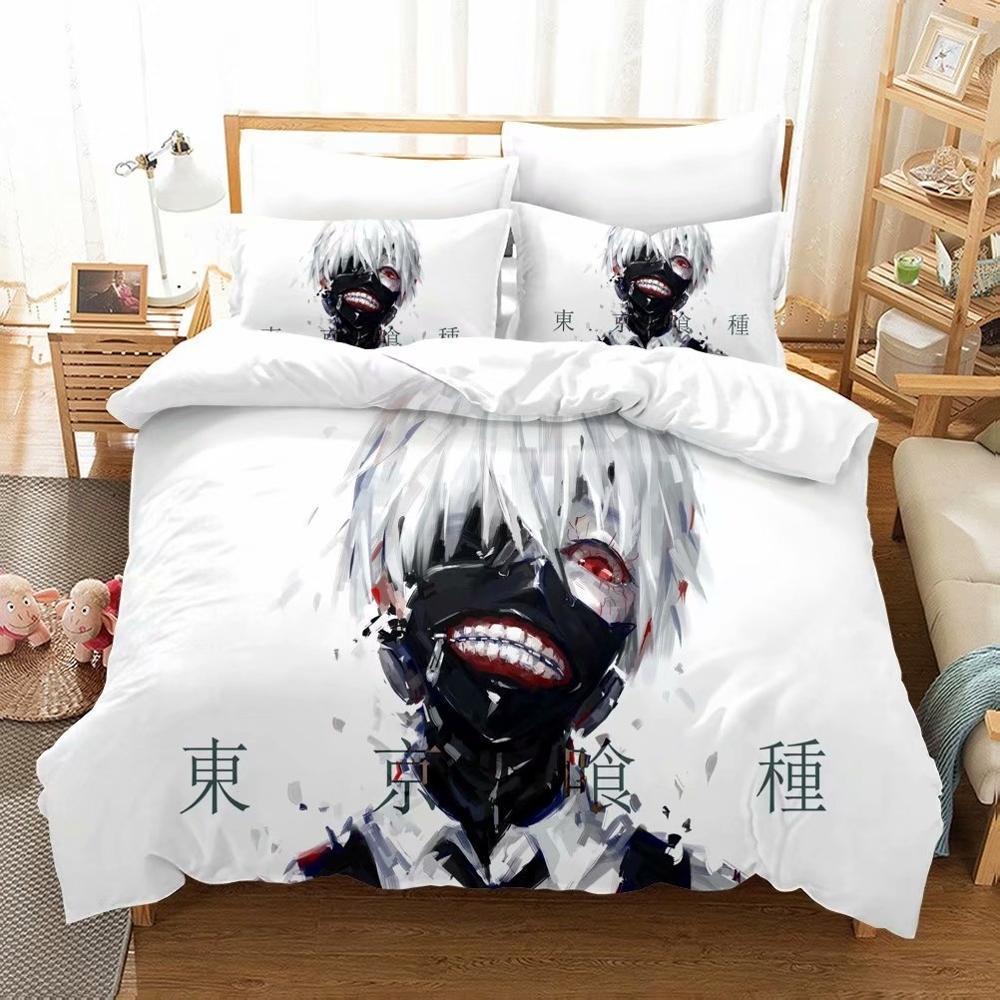 Tokyo Ghoul Bedding Set Kaneki Ken Anime White Duvet Cover Set Single Double Full Queen King Size Home Bed Linen Set 2/3 Piece
