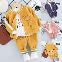 Childrens Suit 2019 Autumn New Boy Clothing Cartoon Bear Corduroy Three-piece Baby Jacket T-shirt + Pants Suit