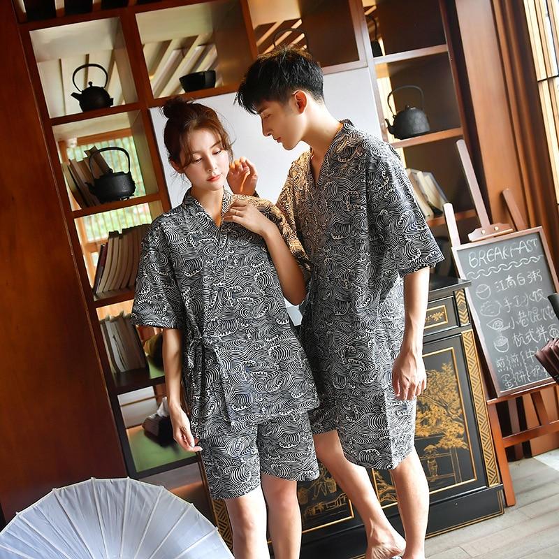 زوجين اليابانية التقليدية كيمونو يوكاتا هاوري رداء منامة المنزل ثوب السباحة سبا الخامس الرقبة القطن الطباعة ثوب Obi مجموعة ملابس