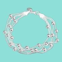 fashion 925 sterling silver heart lock beads chain bracelets jewelry women bracelets christmas gift