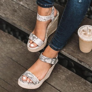 Summer Sandals Platform Sandals Women Peep Toe High Wedges Heels Ankle Buckles Sandalia Espadrilles Gladiator Sandals 2020 New