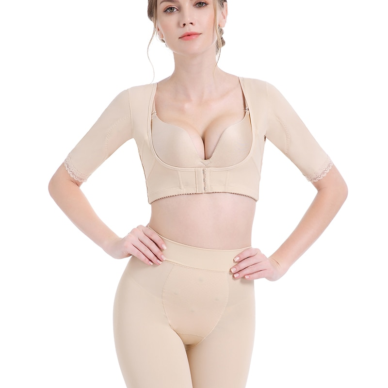 Soporte de pecho moldeador de brazo superior para mujeres postquirúrgicas mangas de compresión adelgazantes Corrector de postura Humpback Tops Shapewear