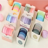 5rollsbox washi tape set decorative masking stickers cute scrapbooking adhesive tapes school stationery home party supplies