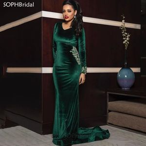 New Arrival Mermaid Evening Dresses Arabic Lace Long Sleeves Prom Dresses Velvet Formal Party Gowns Robes de Soiree Vestidos