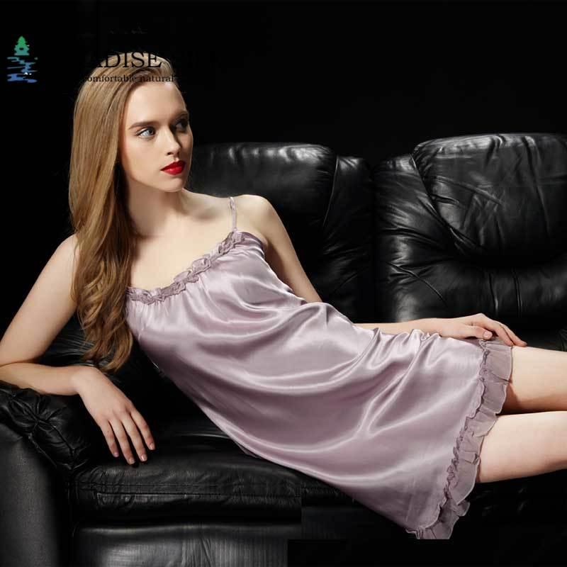 Soie sommeil robe femmes vêtements de nuit 100% Pure soie Sexy Chemise glisse maison robe taille M L XL XXL